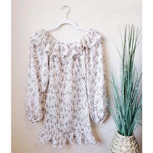SABO SKIRT Floral Off Shoulder Smocked Mini Dress